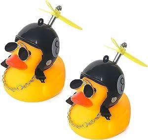 DANUC Rubber Ducky Car Dashboard Decorations Rubber Duckie Shark Helmet Duck Car Dash Interior Ornament Accessories Décor Toy for Men Women Kids Boy Girls 2pcs (2pcs 8)