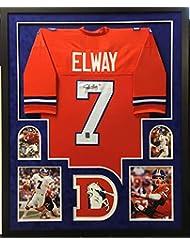 44ba839d017 John Elway Denver Broncos Autograph Signed Custom Framed Jersey Orange  Suede Matted 4 Picture Elway Holo