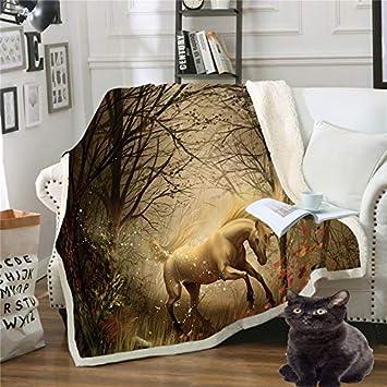 Mantas,Caballo Animal Impresión 3D Unicorn Manta Chicas Chicos colchas suaves camas cama de felpa Sherpa MANTA Manta regalos para niños adultos se desplazan mullidas edredón cálido,150×200cm/60