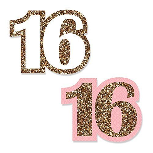Sweet 16 - DIY Shaped Birthday Party Cut-Outs - 24 Count Sweet 16 Birthday Centerpieces