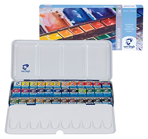 h Artists' Solid Watercolors, Metal Box Set of 36 Assorted Colors ()