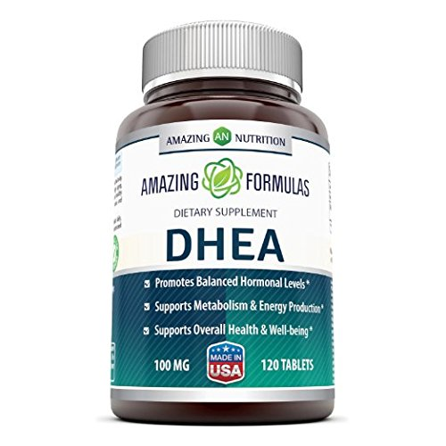 Amazing Formulas DHEA Dietary Supplement – 100 mg Pure – 120 Tablets Per Bottle – Promotes Balanced Hormonal Levels – Supports Metabolism & Energy Production, Balanced Hormonal Levels
