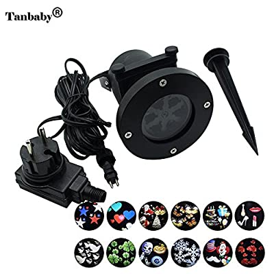 Tanbaby Christmas Led Projector Light Waterproof 12 pattern sparking Landscape Outdoor Holiday Party Snowflake project Spotlight