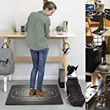 "Ailsan Anti Fatigue Kitchen Rug and Mat Set 2 Piece Black Comfort Heavy Duty Standing Mat PVC Leather Kitchen Floor Mats 18"" x 29""+18"" x 47"" Waterproof Non Slip Cushioned Rugs for Indoor Bathroom Home"