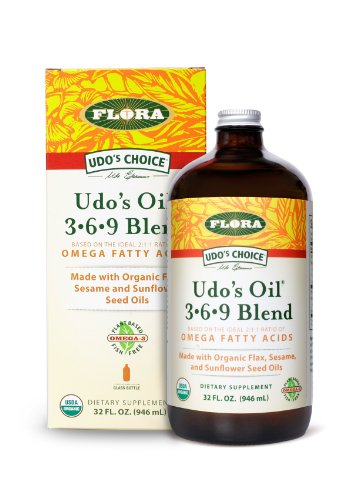 UDOs Choice Oil 3.6.9 Blend in a Glass Bottle