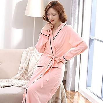 XINSU Home Camisón Mujer otoño algodón de Manga Larga Batas largas Hotel salón de Belleza con