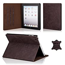 32nd Premium Leather Folio Case for Apple iPad Air 2 (iPad 6th Generation), Book Style Opening Luxury Italian Leather Flip Cover with Magnetic Closure- Dark Brown
