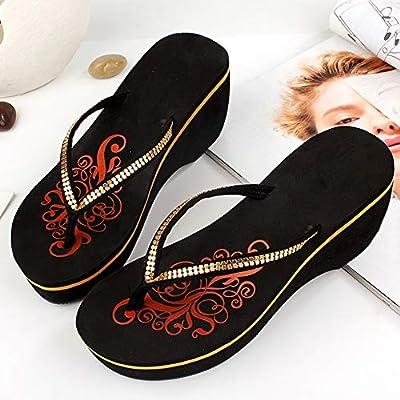 JYDAN Chanclas Mujeres Plataforma Cuña Parche Zapatillas Zapatos ...