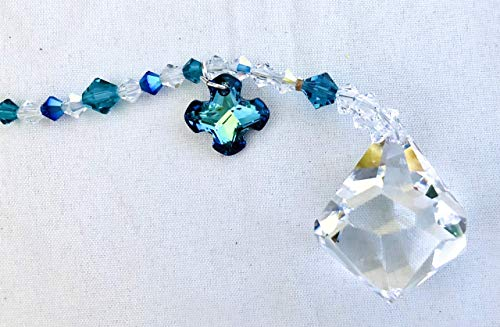 - Crystal Sun Catcher, Swarovski Crystals, Greek Cross, Turquoise Blue, Aurora Borealis, Window Mobile, Rear View Mirror, Garden Decor, 9095