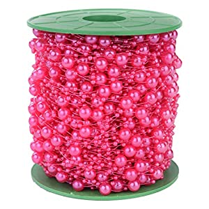 200FT 60M 8+3mm Fishing Line Artificial Pearls Beads String Roll,Pearl Beaded Trim Decoration for DIY Flower Tree Garland,Wedding Party,Bridal Bouquet,Christmas Gift and Hair Band 114