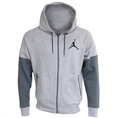 Nike Jordan Fleece Men's Full-zip Hoodie (Large, Dark Grey (Jordan Fleece Hoody)
