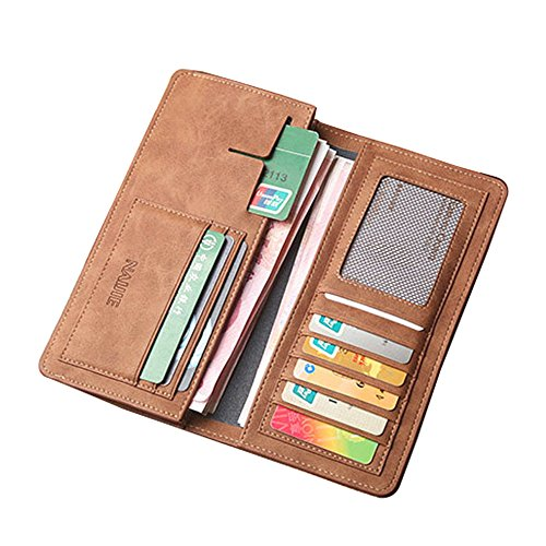 Men's Bifold Leather Breast Pocket Card Holder Purse Suit Long Wallet (Leather Breast Pocket Wallet)