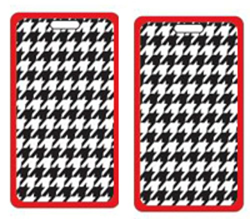 Houndstooth Label - ORB Travel-PT200-Houndstooth-Black/White/Red- 2-Pack Luggage Name Tags ID Label Set of 2 Tags Business Card Suitcase Label