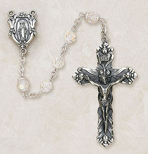 Creed 7mm Swarovski Aurora Borealis Crystal Bead Sterling Silver Rosary with Miraculous Centerpiece Gift Boxed (Aurora Borealis Crystal Rosary Beads)