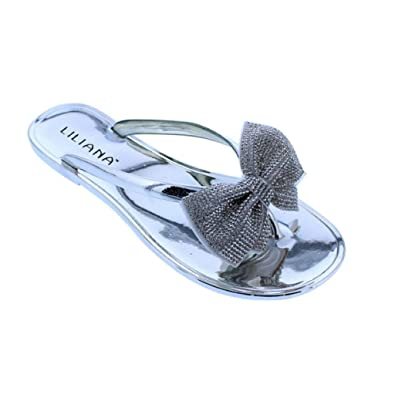 44860aa2c51c Image Unavailable. Image not available for. Color  Liliana Jelli-30A Silver Rhinestone  Bow Jelly Thong Flat Sandal