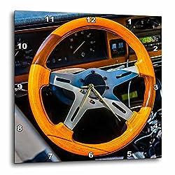 3dRose Alexis Photography - Transport Road - Orange steering wheel of a vintage sports car - 15x15 Wall Clock (dpp_271912_3)