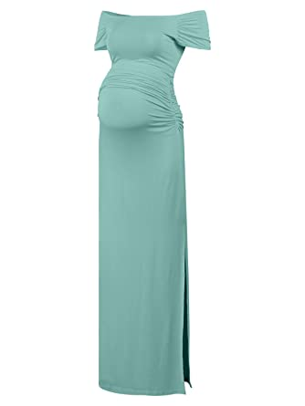 f72cda5bde76 Black Cherry Women s Off Shoulder Short Sleeve Maternity Casual Maxi Dress  Blue-Green