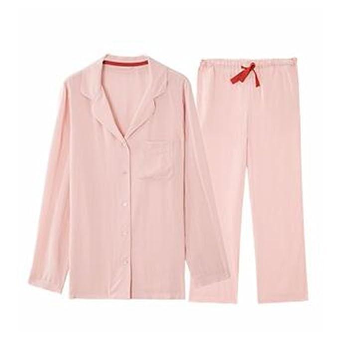 SQINAA Pijama conjunto color puro de la mujer,Pijama de dormir de manga larga viscosa