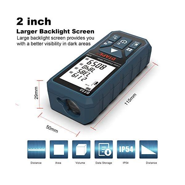 Misuratore Laser,DTAPE DT50 Metro Laser Telemetro Laser Distanziometro 50M/165ft,Manometro Portatile Strumento di Misurazione Della Portata Digitale,Display LCD a 4 Righe Retroilluminato più IP54 4 spesavip