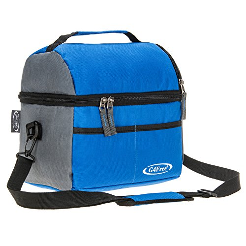 Vinyl Lunch (G4Free 10 Can Insulated Lunch Bag Ripstop Nylon Soft Cooler Bag Water & Tear Resistant with Strong Aluminum Foil Lining(Blue))