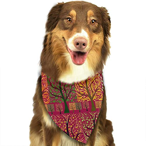 (OURFASHION Four Seasons Tree Bandana Triangle Bibs Scarfs Accessories for Pet Cats and Puppies.Size is About 27.6x11.8 Inches)
