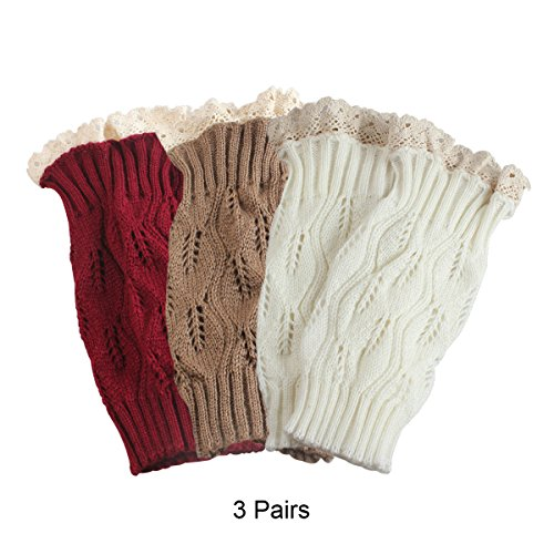 Lace Top Leg - TQS™ Set of 3 Knit Boot Topper Cuff Leg Warmer Bootsock Lace Crochet Detail,Red/Khaki/White,Medium