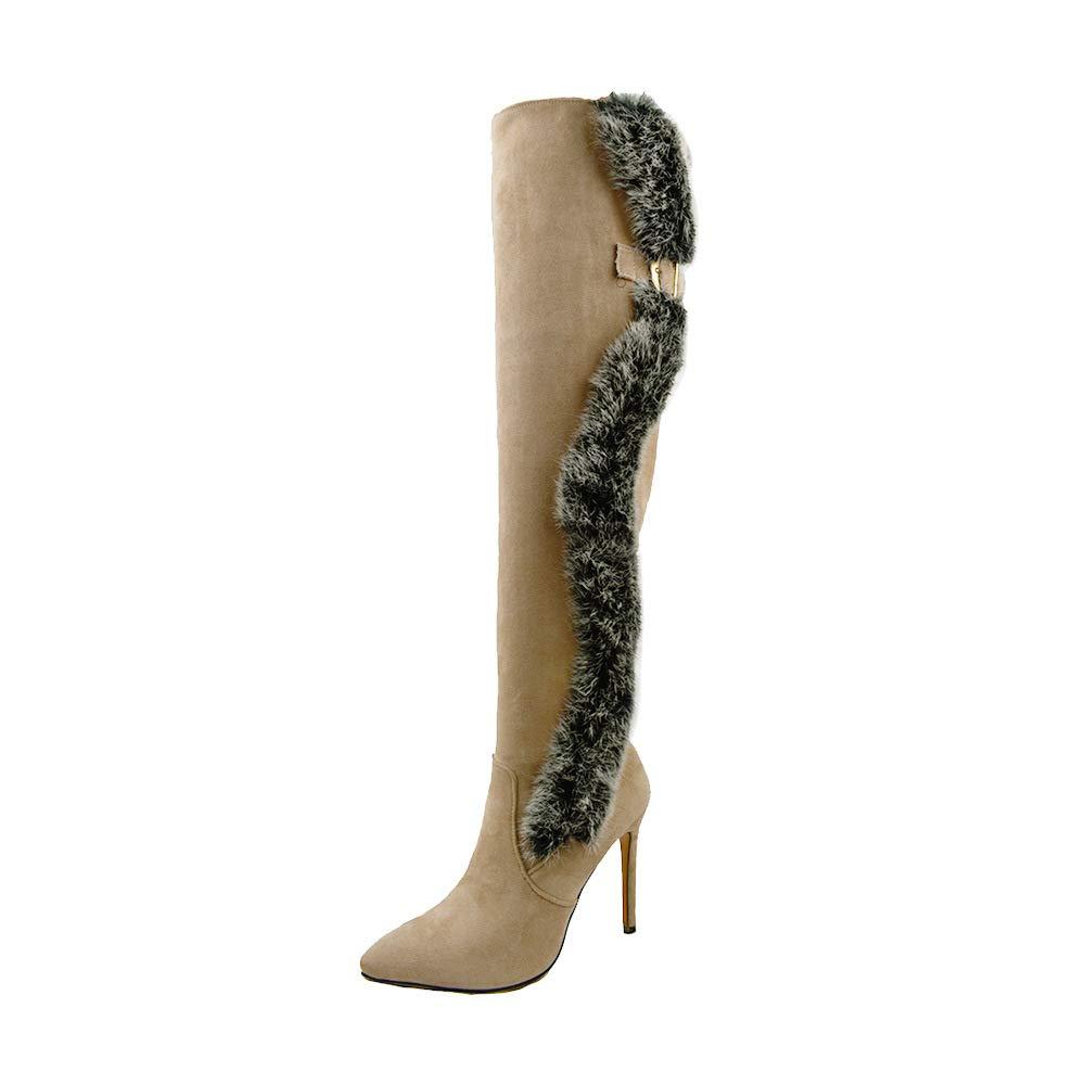 SHINIK Frauen Zeigten Über Die Knie Stiefel 2018 Herbst Winter Charmante Super High Heel Wildleder Plüsch Stiefel Große Größe 40-48