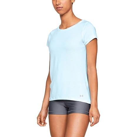 498223288a10e9 Under Armour Damen HeatGear Armour Short Sleeve kurzärmelig Coded Blue  (451) Metallic Silver
