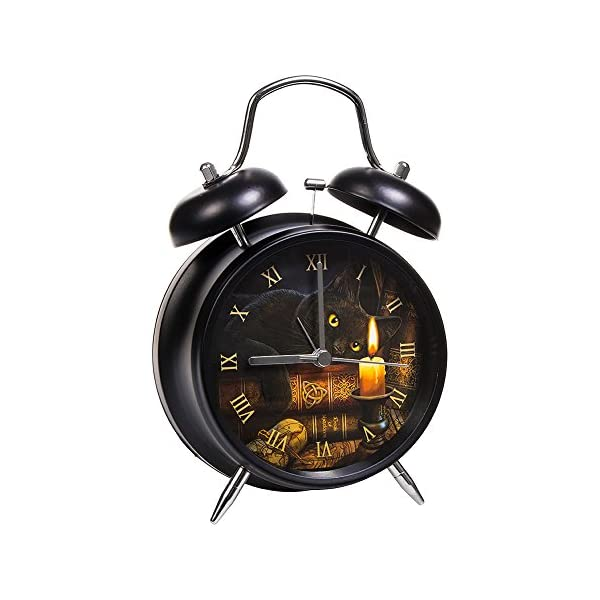 The WitchingHour Back Cat Art Alarm Clock By Lisa Parker