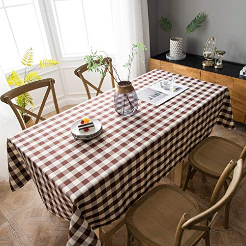 - Aquazolax Farmhouse Table Cover Cotton Polyester Blend Buffalo Plaid Table Cloth for Dinning Room/Kitchen, 60x84 inch, Brown