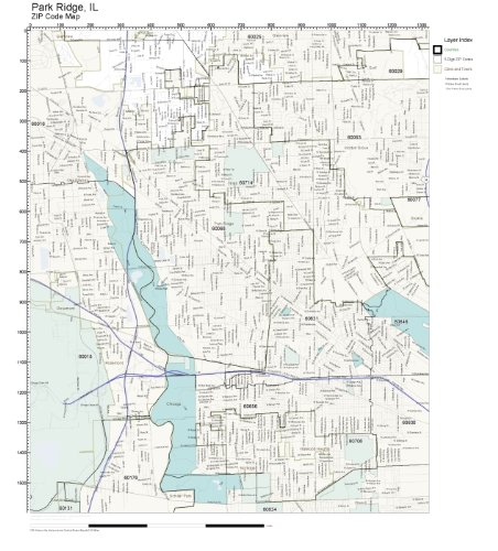 Amazon Com Zip Code Wall Map Of Park Ridge Il Zip Code Map