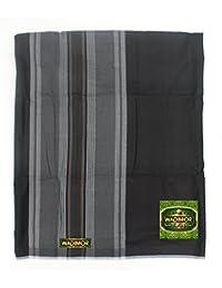 Black One-Size Men's Izar Sarong Lungi Cotton Wadimor Sewn Tube Design