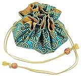 Silk & Cotton Drawstring Jewelry Pouch, Aquamarine Blue with Gold Swirls
