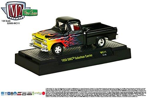 (1958 GMC SUBURBAN CARRIER * Wild Cards Series Release 11 * M2 Machines 2015 Castline Premium Edition 1:64 Scale Die-Cast Vehicle ( WC11 15-59 ) )