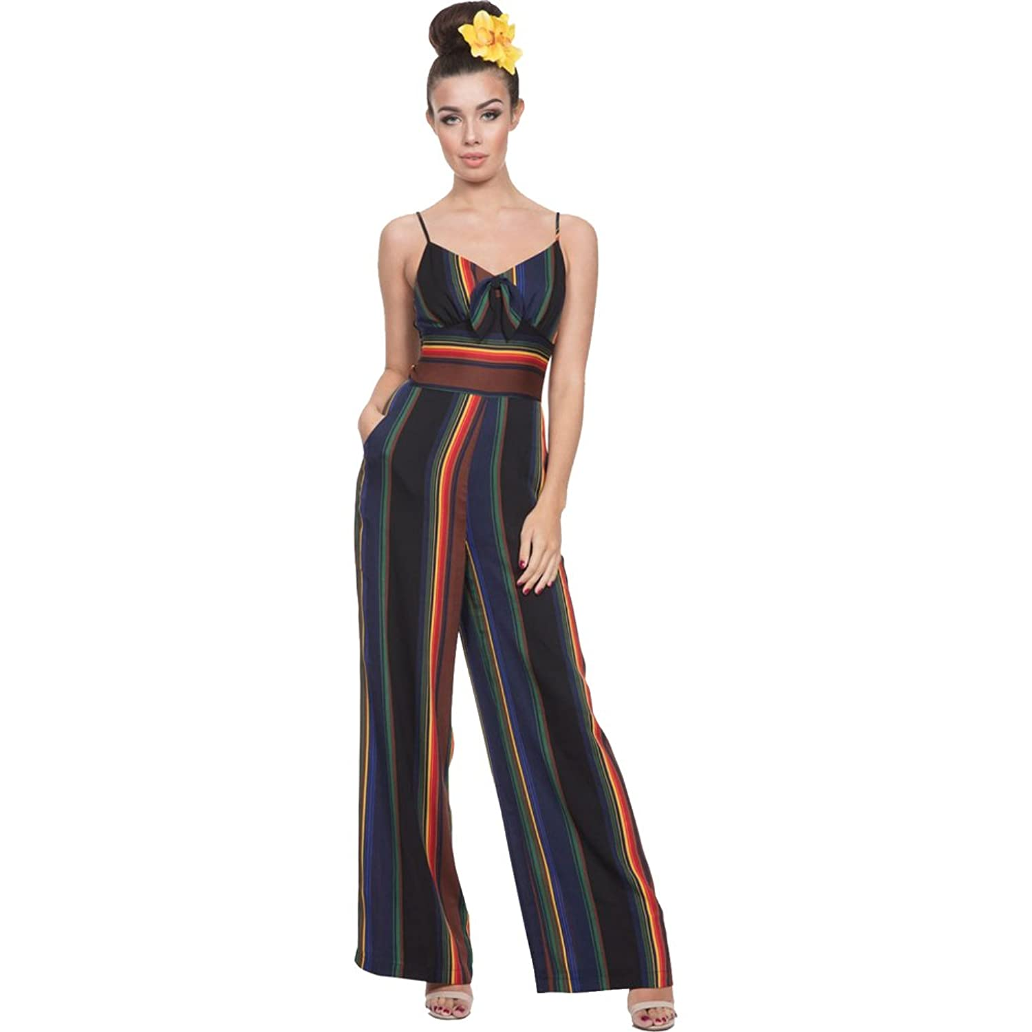 1930s Women's Pants and Beach Pajamas  VIVIAN Rainbow Jumpsuit Black $67.99 AT vintagedancer.com