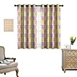 Warm Family Tulip Room Darkening Wide Curtains Colorful Lined Up Showy Tulip Shapes Perfect Love Symbol Mother Earth Icons Graphic Work Decor Curtains by W72 x L45 Multi