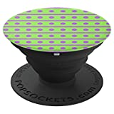 Polka Dots Lines Purple Green Design Pattern Wallpaper - PopSockets Grip and Stand for Phones and Tablets