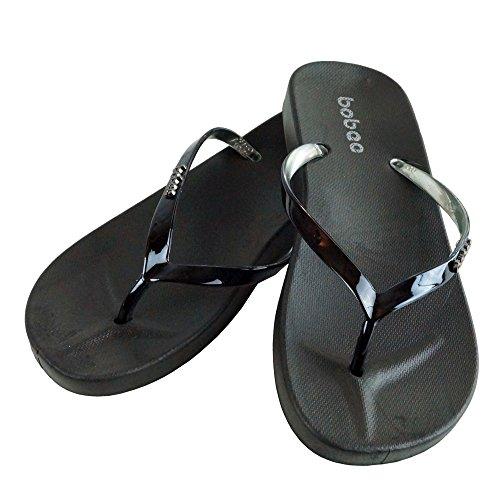Kuda Moda Bobe Women's Summer Metallic Strap Casual Thongs Flat Flip Flops Sandals Slipper (5-6 B(M) US | Small, Black)