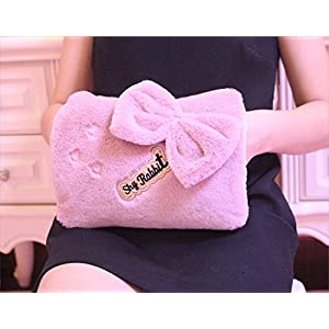 Winter Hot Water Bottle Safe Explosion-proof Rechargeable Hand Warmer Pocket Portable Electric Heat Pain Relief Warming Bag with Detachable Velvet Cover, Cute Cartoon/Bowknot (Small Bowknot-Pink)