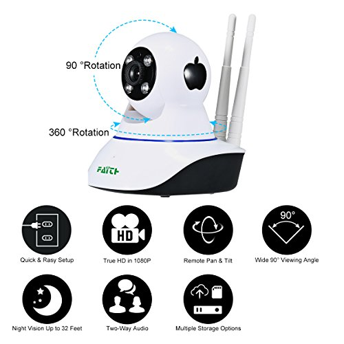 FAITH Wireless Dome Camera 960P 1.3M IP Security Surveillance System Baby Monitor 2 Way Audio SD Card Slot Day/Night Vision for Android/iOS/iPhone/iPad/Tablet(2 antenna)