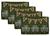 Set of Four Green St. Patrick's Lucky Irish Shamrocks Tapestry Place Mats (Lucky Banner)