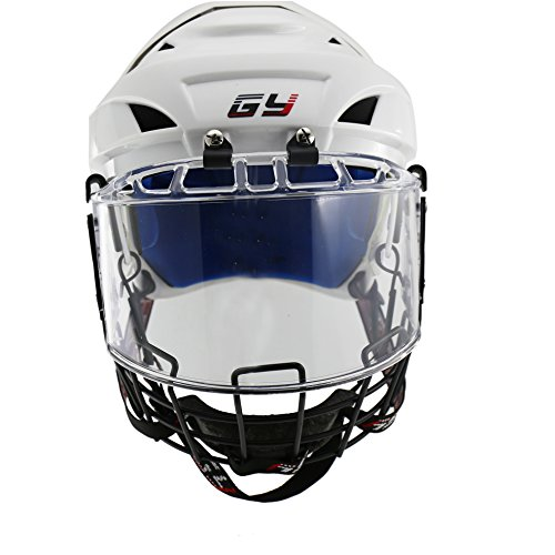 GY PP Shell Soft PU Liner Ice Hockey Helmet & Face Mask Combos Sweeping View White Color – DiZiSports Store
