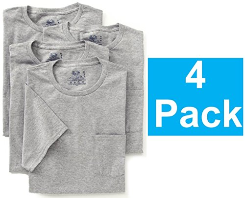 Fruit of the Loom Mens 4Pack Grey Pocket Crewneck T-Shirts Undershirts L
