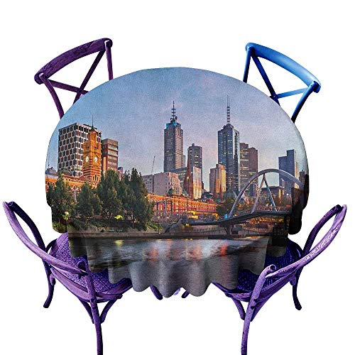 ONECUTE Waterproof Table Cover,City Early Morning Scenery in Melbourne Australia Famous Yarra River Scenic,Party Decorations Table Cover Cloth,50 INCH Orange Green Pale Blue -