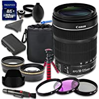 Accessory Kit with Canon EF-S 18-135mm f/3.5-5.6 IS STM Lens + 2.2x Telephoto Lens + 0.43x Wideangle Lens + Lens Bag for Canon EOS 70D 80D 6D 7D 7D Mark II 5DS 5DS R 5D Mark III DSLR Cameras