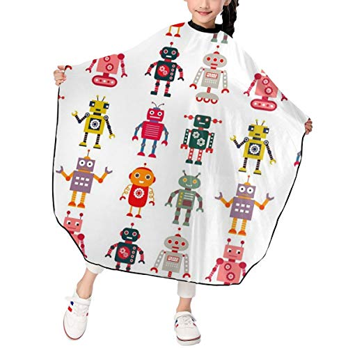 Kids Haircut Salon Hairdressing Cape Colorful Cartoon Set Robot Image Future Sense Interesting Mascot Hair Cutting Cape for Kid for Hair Cutting,Styling and Shampoo - 39 X 47in
