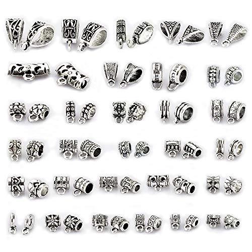LolliBeads (TM) 150Pcs Mix Tibetan Silver Color Connectors Bails Beads fit European Charm Bracelet Pendant