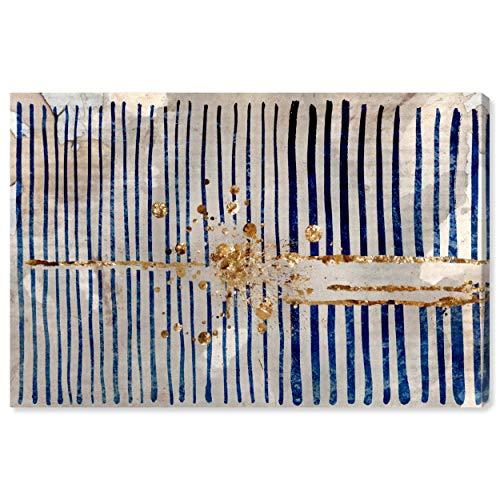 Rivet Blue Stripes and Gold Burst Canvas Print, 36