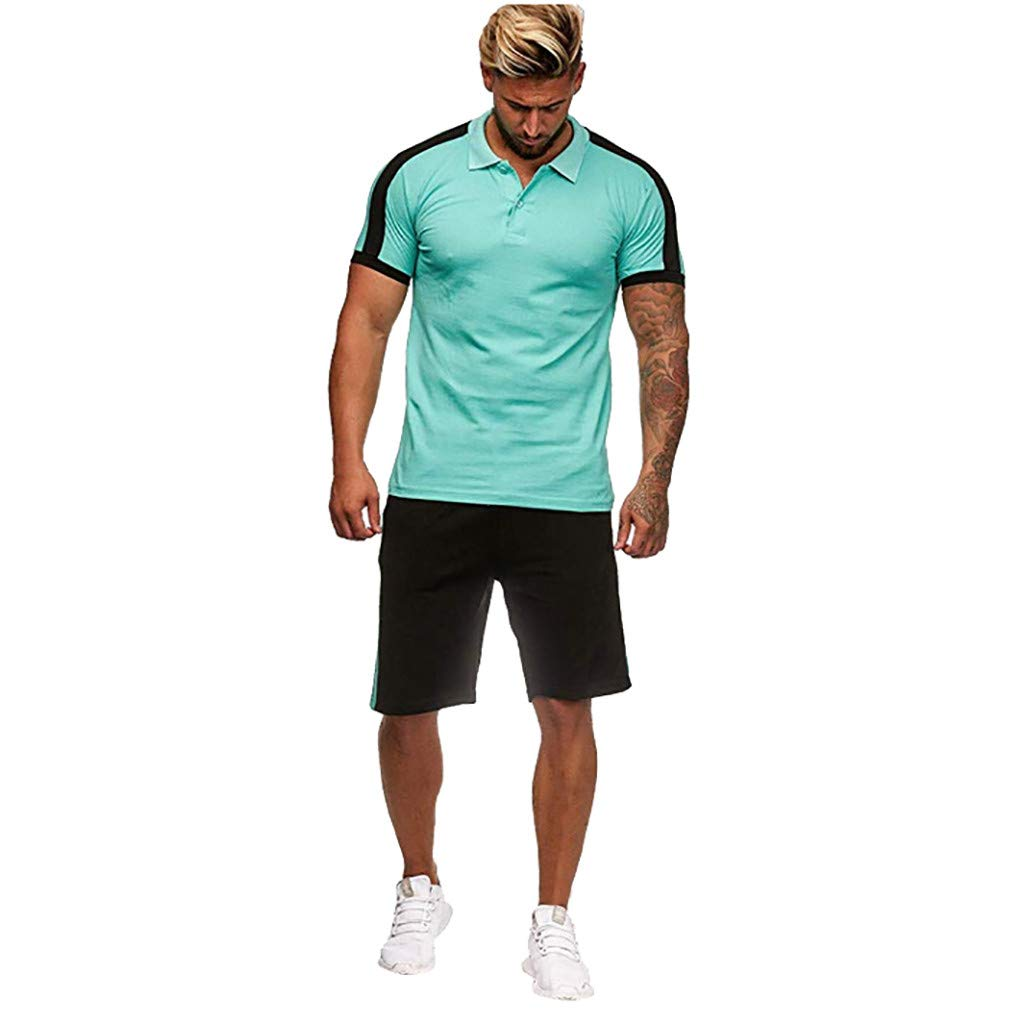 Men's Summer Tracksuit Set Casual Stripe Button Short Sleeve Tops and Shorts Runing Athletic Sports Clothes Sets Size S-2XL (L, Green)