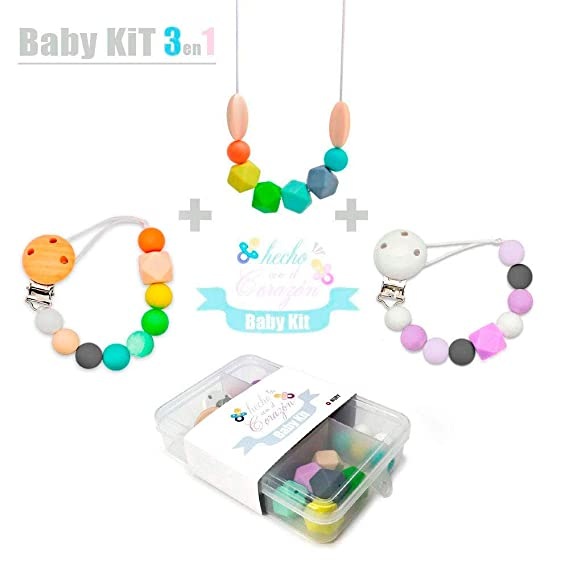 RUBY - DIY Kit Cuentas de Silicona para hacer Chupetero Mordedores y Collar lactancia Regalos para bebes personalizados,Envio urgente gratis (Modelo B): ...